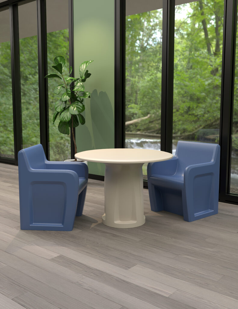 Midnight Blue Sentinels With Stone Gray Cylinder Base Table